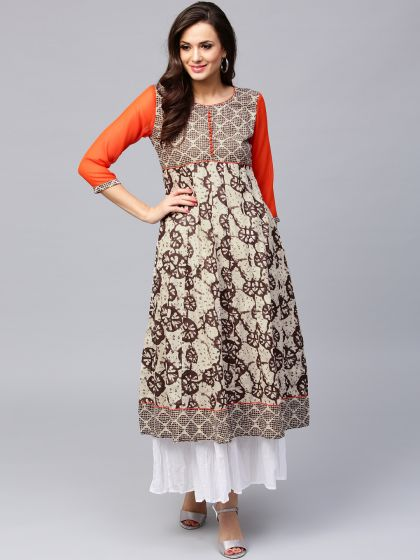 Brown & Beige Printed Anarkali With Solid Sleeve