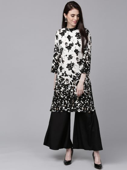 Black & White Floral Printed Kurta With Solid Palazzo