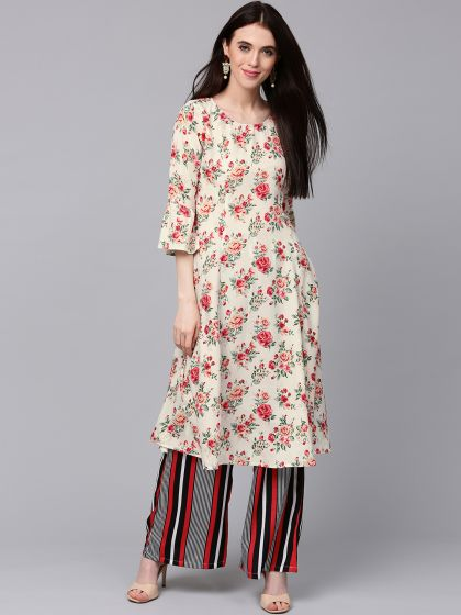 Off-White & Red Floral Printed Kurta with Black Striped Palazzo Set