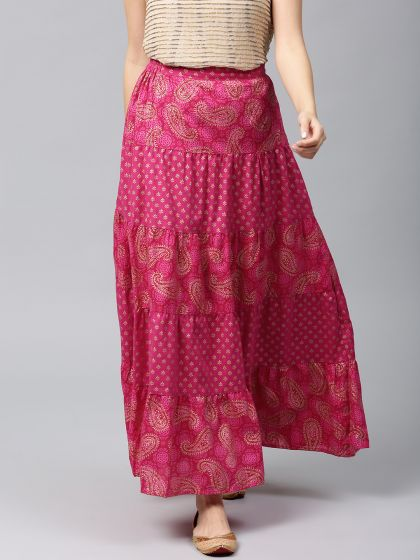 Ruby Pink Gold Printed Flared Skirt
