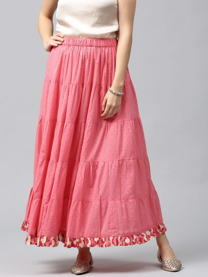 Pink Solid Tiered Skirt