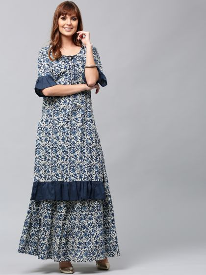 Blue & White Floral Printed kurta With Ruffle Sleeve