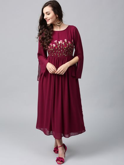 Wine Colored 3D Embroidered Georgette Maxi Dress