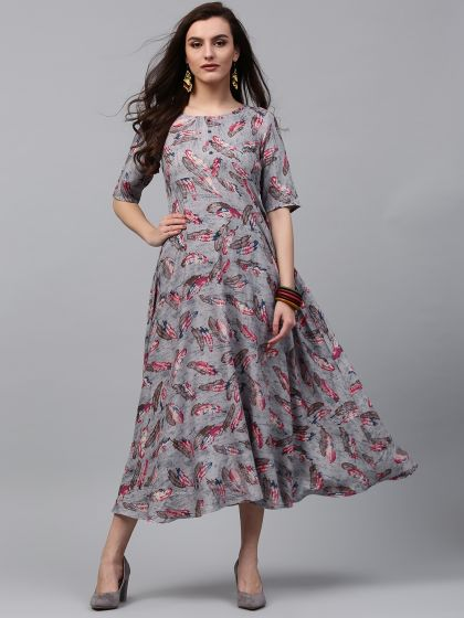 Grey Feather Motif Printed Flared Dress