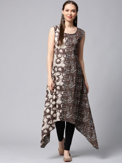 Brown & off-white Printed A-Line Sleeveless Dress