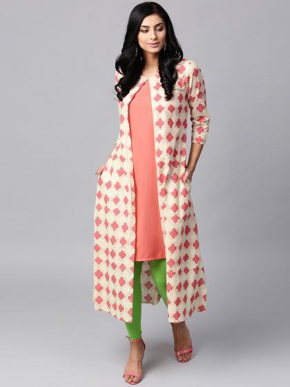 Cream & Peach Gold Printed Long Jacket With Pocket Details