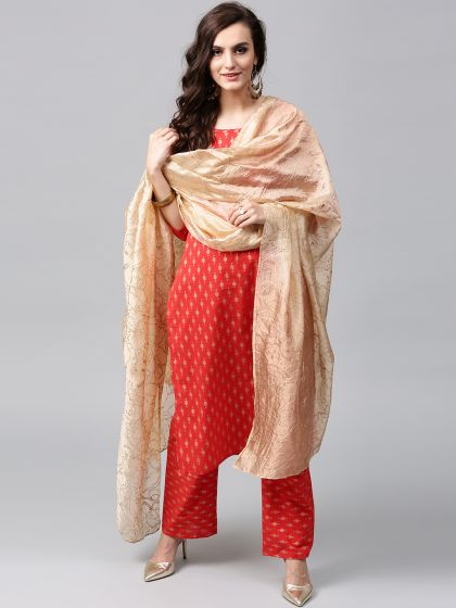 Cream Hand Gold Printed Dupatta
