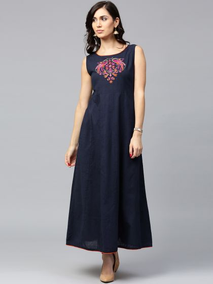 Navy Blue Peacock pair Embroidered Sleevless Anarkali
