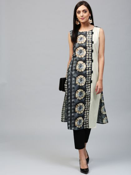 Grey & Cream Printed Sleeveless Kurta