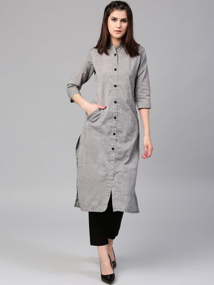 Grey Solid Kurta With Front Pocket Details