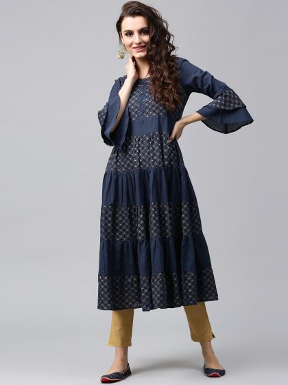 Sapphire Blue Gold Printed Tiered Anarkali