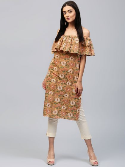 Peach Floral Pastel Printed Off-Shoulder Kurta