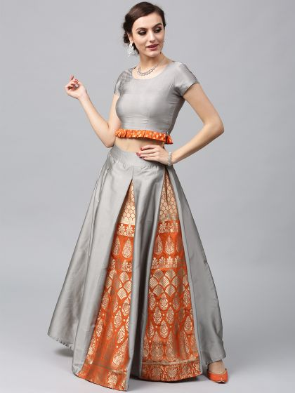 Quartz Grey & Orange Brocade Lehenga With Choli