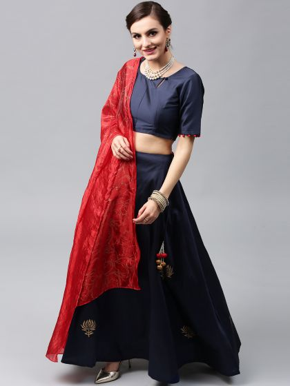 Sapphire Blue  Hand Block Printed Lehenga Choli with Dupatta