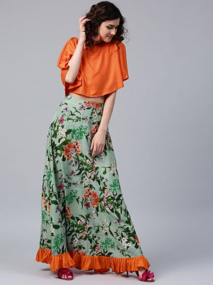 Green Floral Pastel Printed Skirt With Solid Crop Top