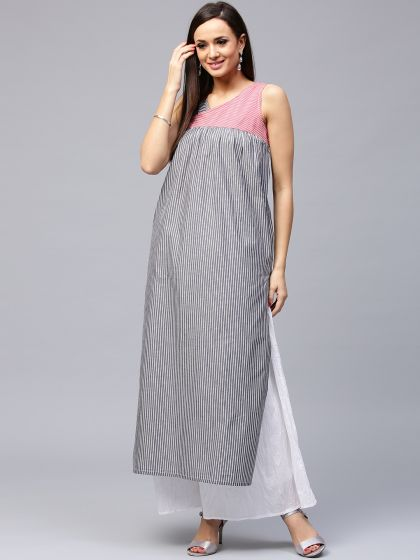 Grey & Pink Striped Straight Kurta