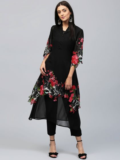 Black Floral Printed Double Layered Kurta