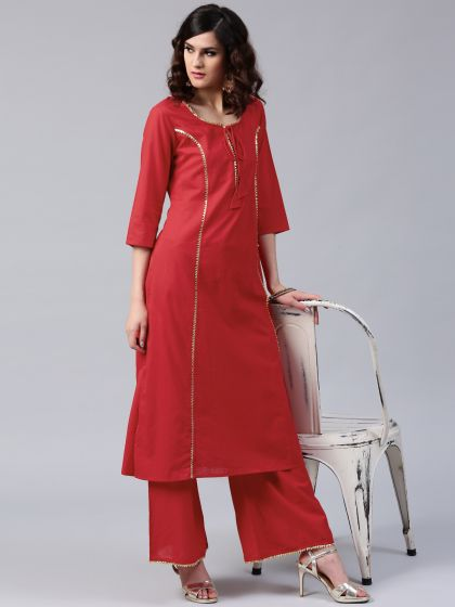 Red Solid kurta With Gota Details
