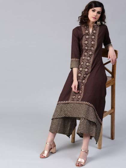 Coffee Brown Dobby Woven Embroidered A-Line Kurta With Palazzo Set