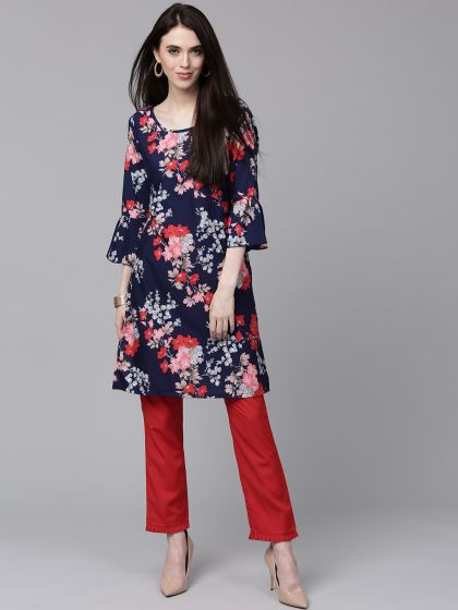Blue Floral Printed Kurta With Solid Pants Set