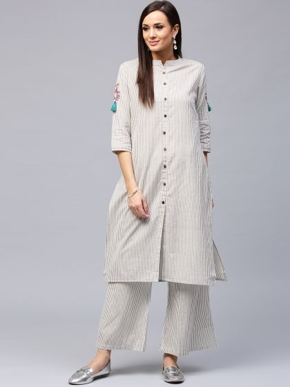 White & Grey Striped Straight Kurta With Embroidered at Sleeve