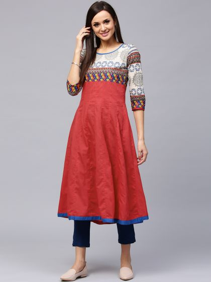Red Solid Anarkali With Printed Yoke