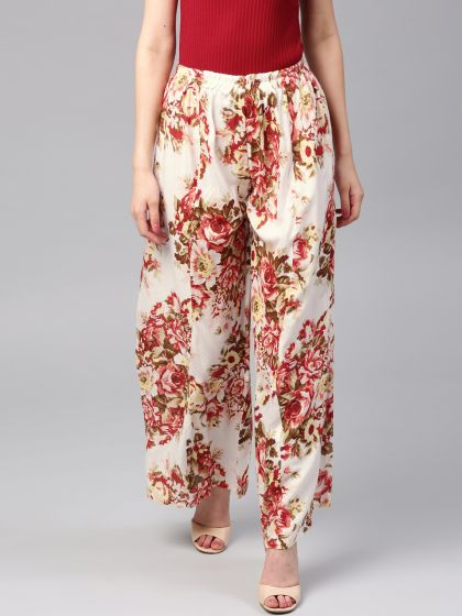 White & Red Pastel Floral Printed Palazzo