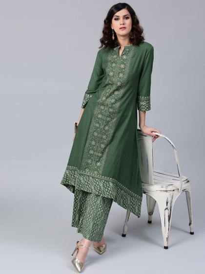 Green Dobby Woven Embroidered A-Line Kurta With Palazzo Set