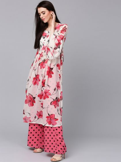 White & Red Floral Printed Kurta with Palazzo Set