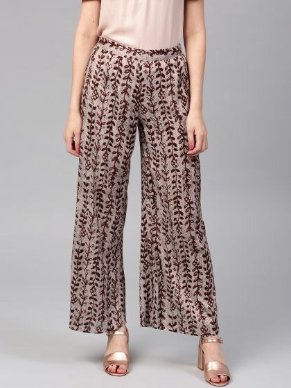Coffee Brown Printed Flared Palazzo