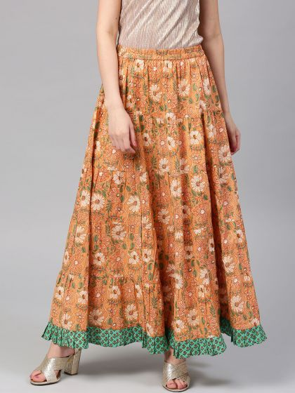 Peach Floral Pastel Printed Flared Skirt