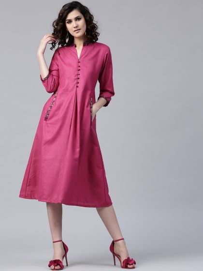 Rose Solid Matka Silk A-Line Dress With Brocade Details