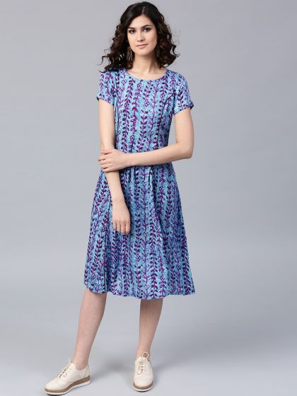 Indigo Printed Flared A-line Dress