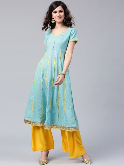Blue Solid Anarkali With Yellow Gota Patti Details