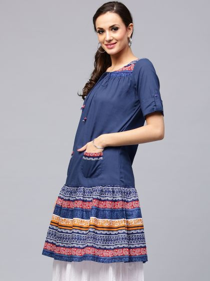 Blue Printed A-Line Kurta With Front Pocket Details