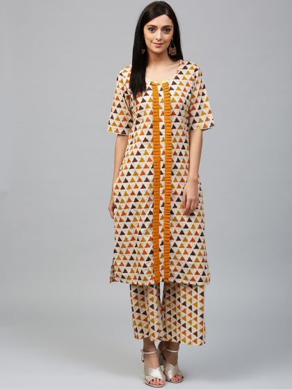 Cream Geometrical Printed Kurta With Pleated Details