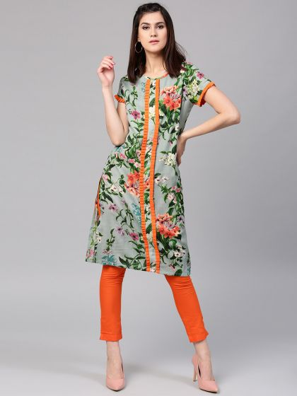 Green Floral Pastel Printed Straight Kurta With Pleated Details