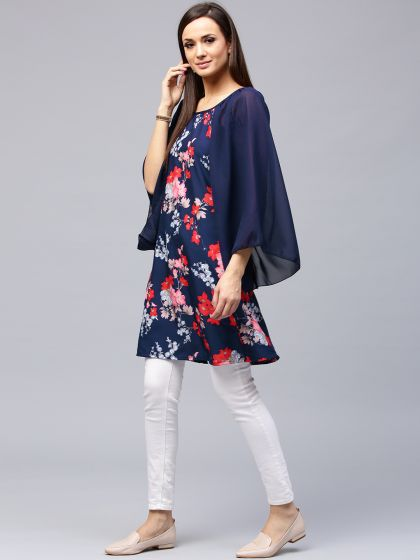 Navy Blue Floral Printed Kurta With Flared SLeeve