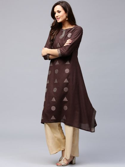 Coffee Brown Kantha Embroidered A-Line Kurta