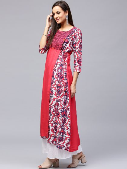Pink Floral Printed A-Line Kurta With Embroidered Yoke