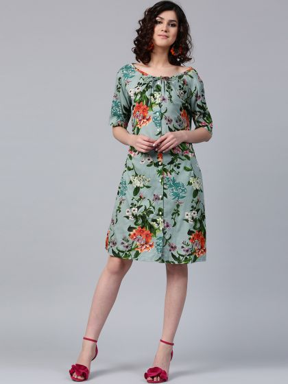 Green Floral Pastel Printed Button Down Dress