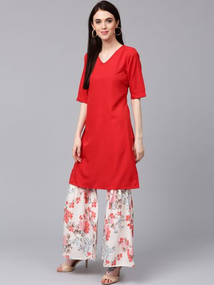 Red Solid Kurta With White floral Printed Sharara