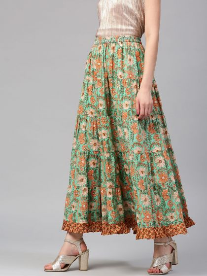 Green Floral Pastel Printed Flared Skirt With Frill Hemline