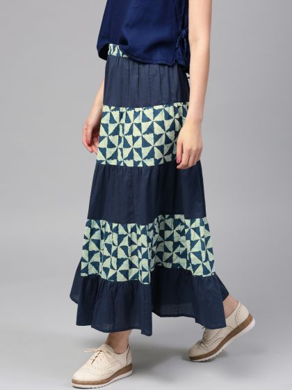 Navy Blue Printed tiered Skirt