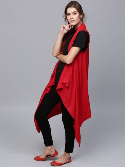 Red Solid Sleeveless Long  Shrug