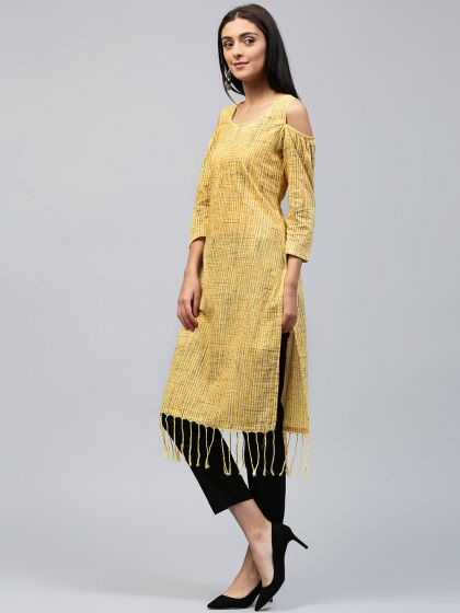 Yellow Printed Cold Shoulder Kurta With Fringes Detail