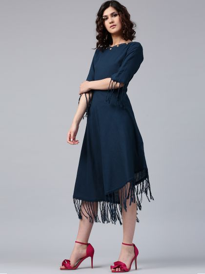 Blue Solid Asymmetrical Dress with Fringes detail