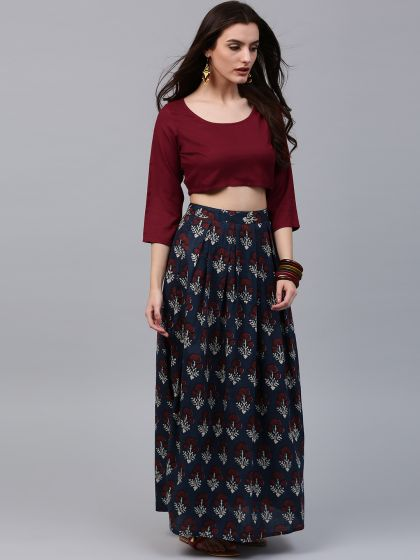 Blue Printed Flared Skirt With Solid maroon Crop top
