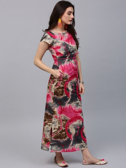 Multicolored Printed Maxi With Side Pocket Details
