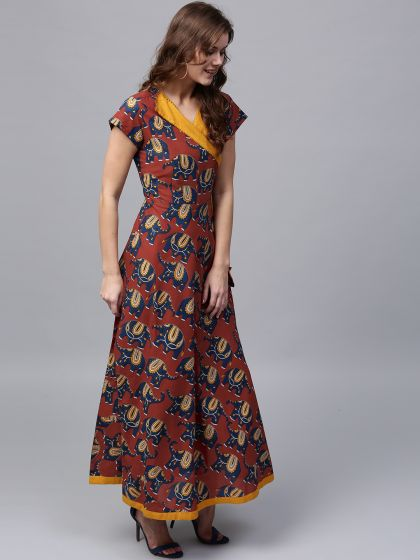 Maroon and Blue Printed Flared Maxi